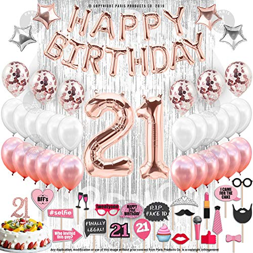 21st Birthday Decorations with Photo Props | 21 Birthday Party Supplies | 21 Cake Topper Rose Gold Banner | Rose Gold Confetti Balloons for her |Finally Legal 21 |Silver Curtain Photo Booth Backdrop