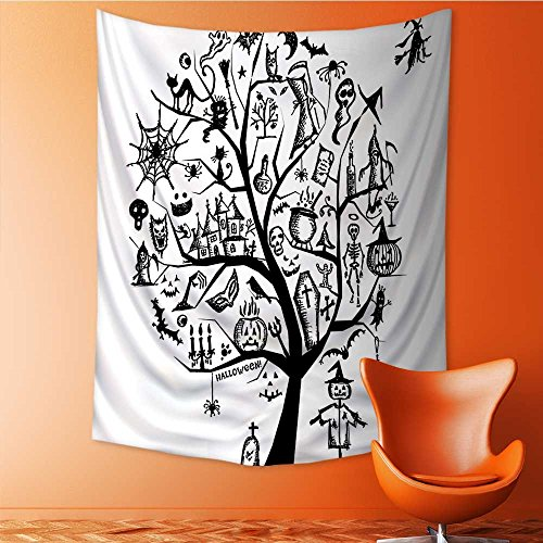 SOCOMIMI Abstract Art Splatter Painting Home Decor, Sketch Style Halloween Tree with Spooky Objects and Wicked Tapestry Wall Hanging Art 59L x 90.5W Inches ()