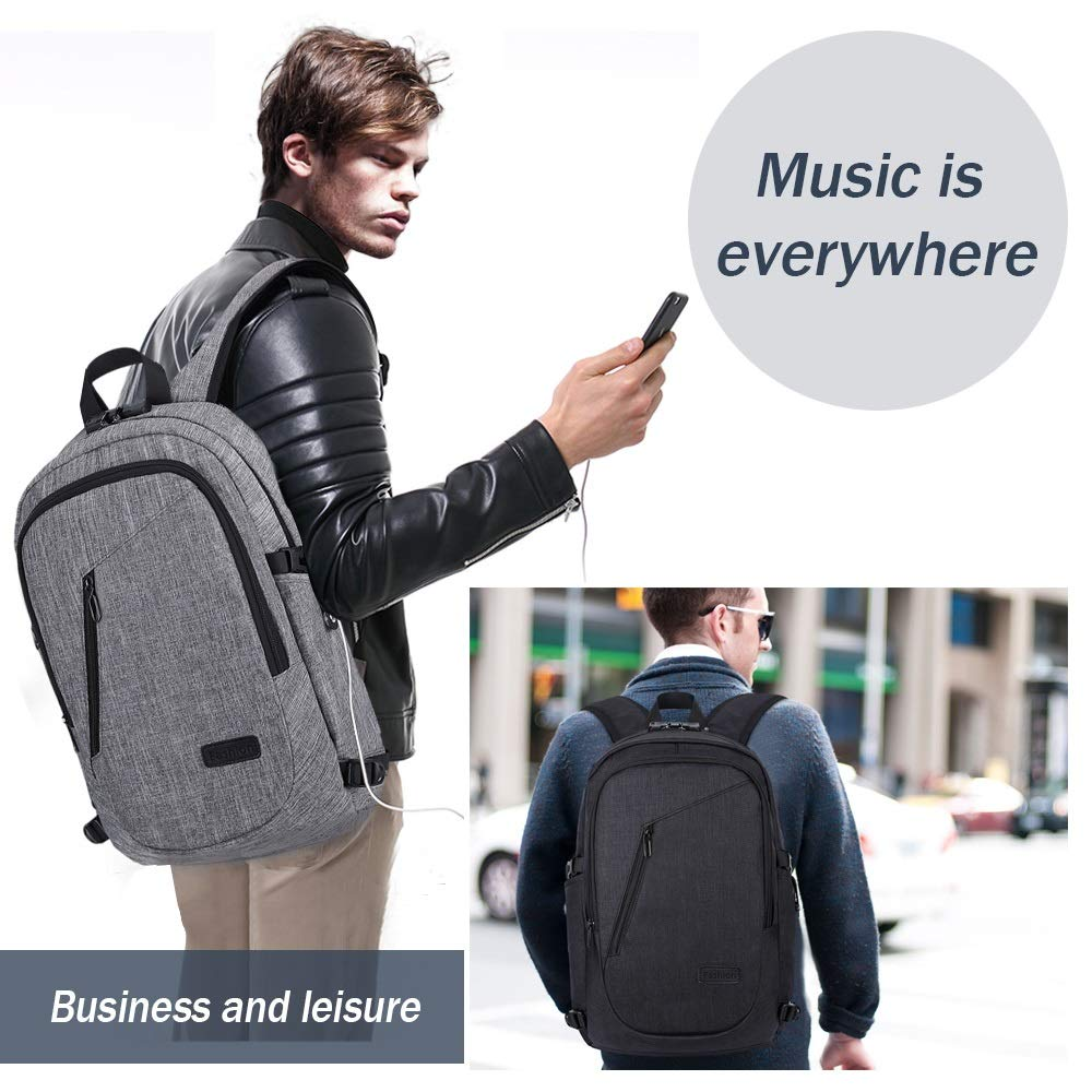 Color : Gray JANEFUH Travel laptop Backpack 19.7inch Stylish Daypacks Business Anti Theft Slim Durable Laptops Backpack with USB Charging Port College Student Computer Bag for Women Men
