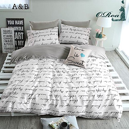 ORoa Lightweight Cotton Duvet Cover Set for Teens Kids White Grey 3 Piece Reversible Letters Home Textile Bedding Set with Pillowcases , Style 5
