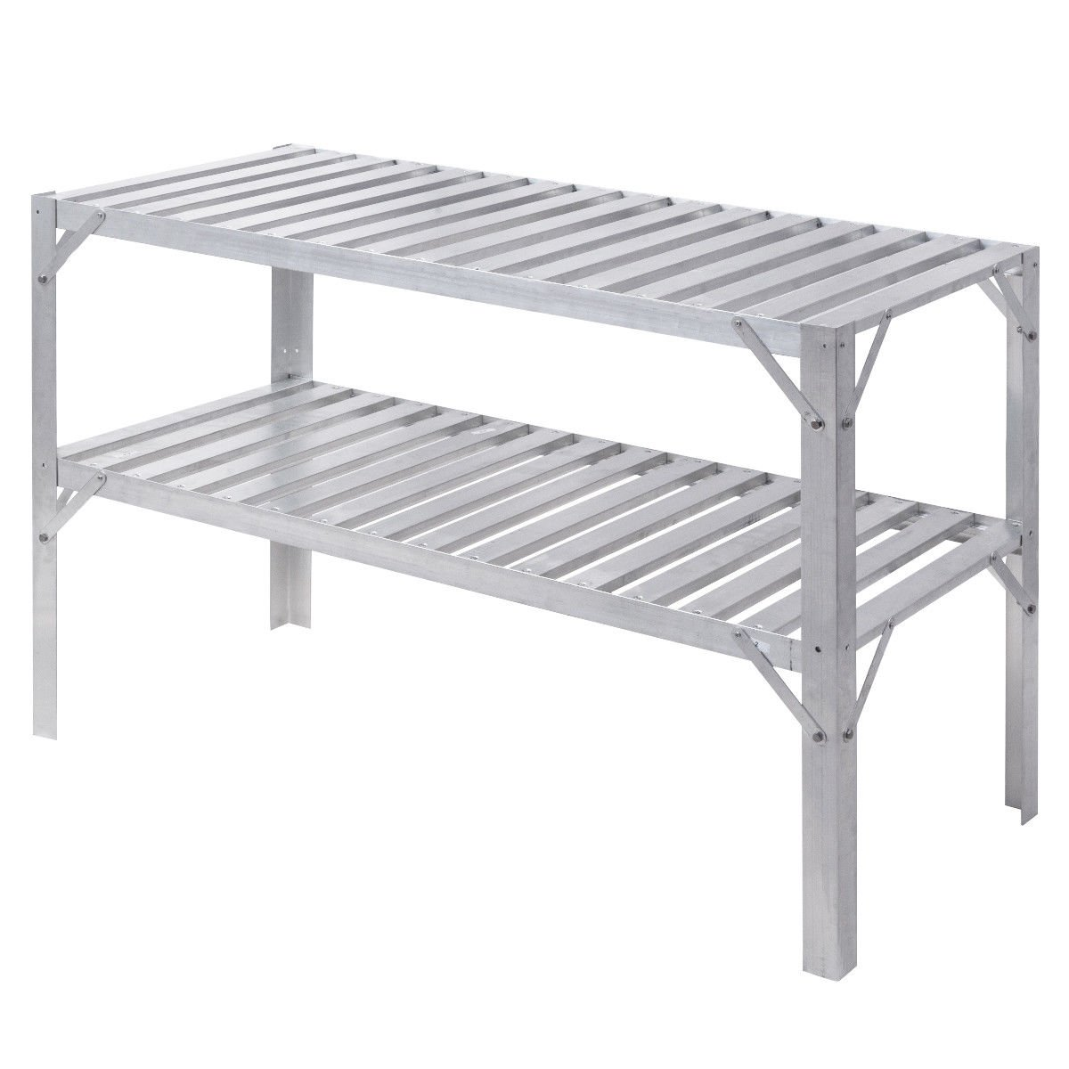 Giantex Aluminum Workbench Oranizer Greenhouse Prepare Work Potting Table Storage Garage Shelves, Silver by Giantex (Image #6)