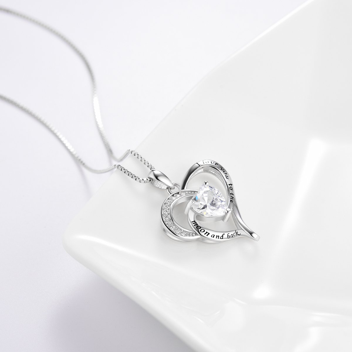 Bellrela Sterling Silver I Love You to The Moon and Back Necklace Heart Love Pendant Necklace