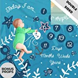 Scheuer Brand Double Sided Monthly Baby Milestone Blanket- Month Blanket for Baby Pictures | Photo Blanket with Baby Photo Props | Monthly Blankets for Newborns | Boy and Girl Milestone Blanket
