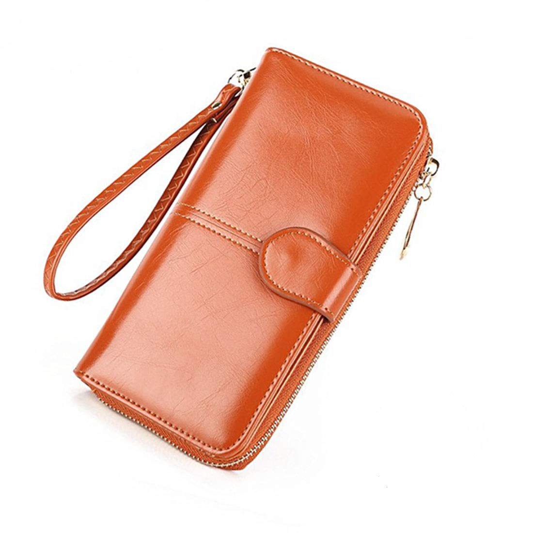 Women's Rfid Leather Wristlet Wallet Organizer Large Phone Checkbook Holder with Zipper Pocket