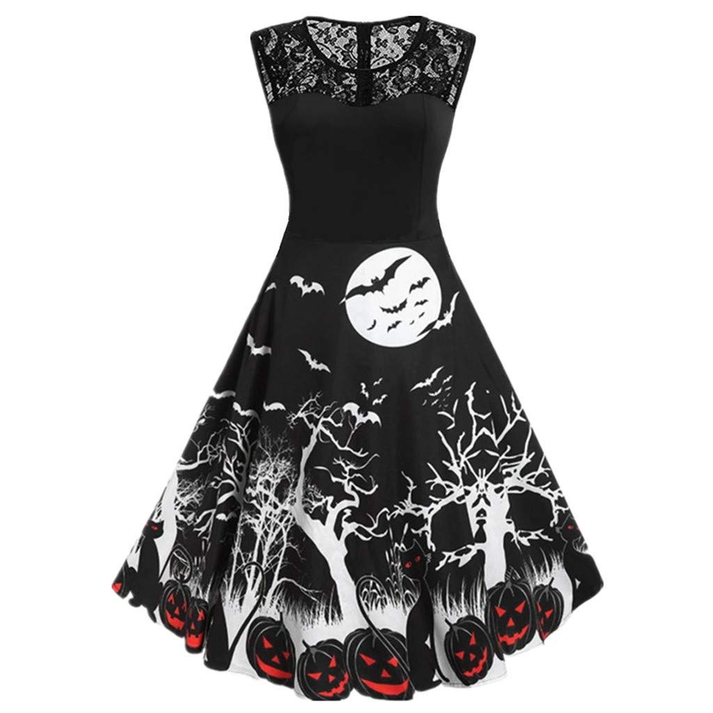 Women Dress,Meetsunshine Women Casual Vintage O-Neck Sleeveless Print Halloween Housewife Evening Party Sex Dress 4 Color (Black, M) by Meetsunshine Halloween