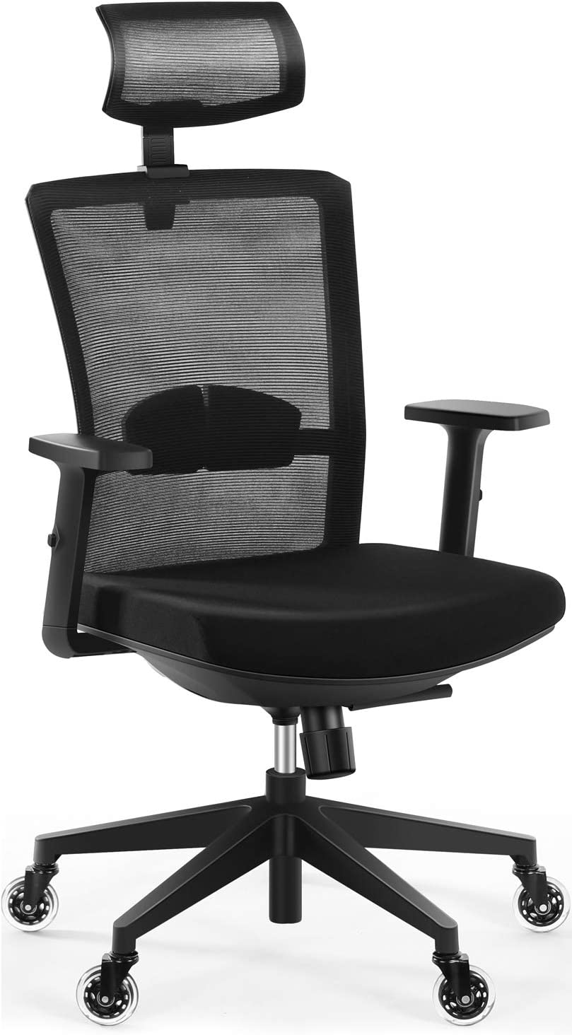 Tribesigns Ergonomic Office Chair with 2D Adjustable Headrest,High Back Mesh Desk Chair with Lumbar Support, Skate Style Wheels, Thick Seat Cushion