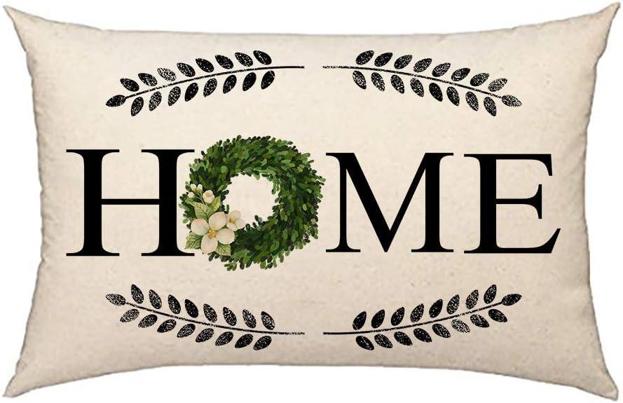 4TH Emotion Fall Home Boxwood Wreath Throw Pillow Cover Farmhouse Autumn Cushion Case for Sofa Couch 12x20 Inch Cotton Linen