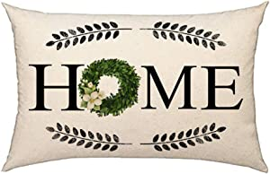 4TH Emotion Fall Home Boxwood Wreath Throw Pillow Cover Farmhouse Autumn Cushion Case for Sofa Couch 12x20 Inch Cotton Linen
