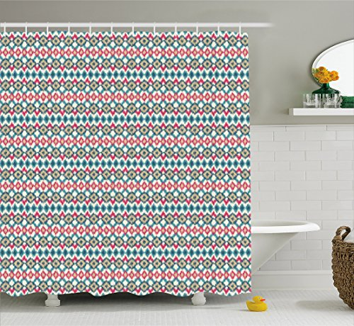 Mexican Bathroom Decor (Ikat Shower Curtain by Ambesonne, Ancient Cultures Theme Mexican Aztec Motifs with Geometrical Native American Design, Fabric Bathroom Decor Set with Hooks, 105 Inches Extralong, Multicolor)