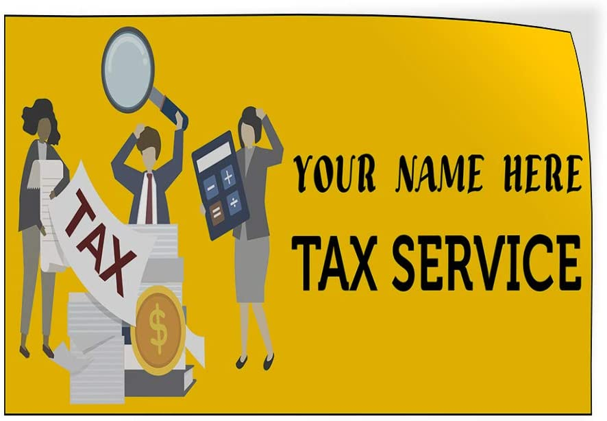 Custom Door Decals Vinyl Stickers Multiple Sizes Business Name Tax Service Business Income Tax Outdoor Luggage /& Bumper Stickers for Cars Yellow 72X48Inches Set of 2