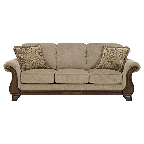 Signature Design by Ashley – Lanett Queen Size 3 Seat Traditional Couch Sleeper Sofa, Barley