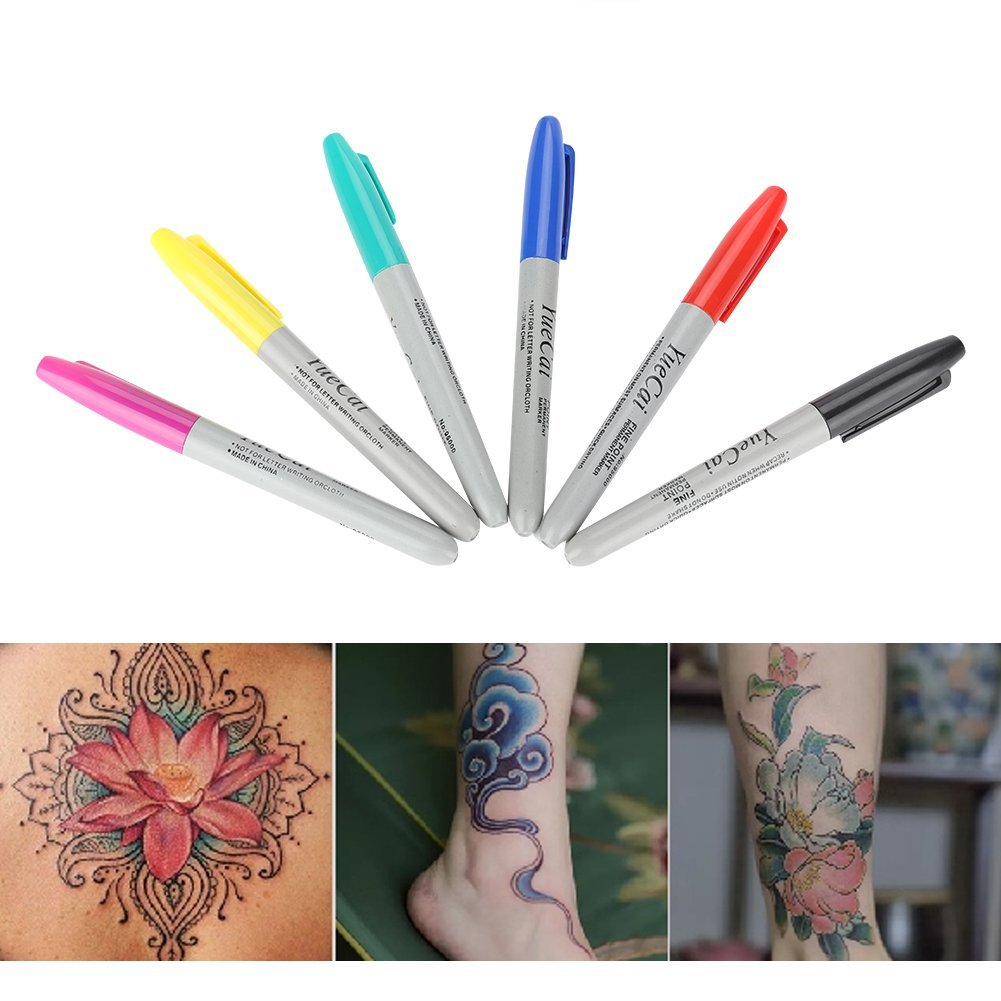 Skin Tattoo Pen, Asixx 6Pcs/Set Tattoo Piercing Skin Marker Positioning Pen Permanent Makeup Body Art Beauty Tool Ensure Accurate Positioning and Marking(6pcs) by Asixx (Image #3)