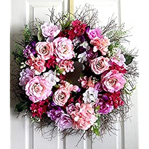 Extra Large Peony and Roses spring wreath for front door, Summer Wreath, wedding wreath 20
