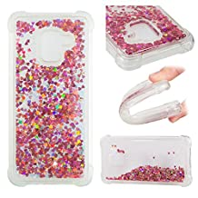 Galaxy A8 Plus 2018 Liquid Case,Galaxy A8 Plus 2018 Floating Case,Leecase Luxury Beauty Bling Shiny Sparkle Glitter Cover Rose Gold Love Heart Quicksand Flowing Creative Design Crystal Transparent Clear Plastic Soft TPU Protective Shock Proof Shell Case Cover Bumper for Samsung Galaxy A8 Plus 2018 + 1 x Free Black Stylus