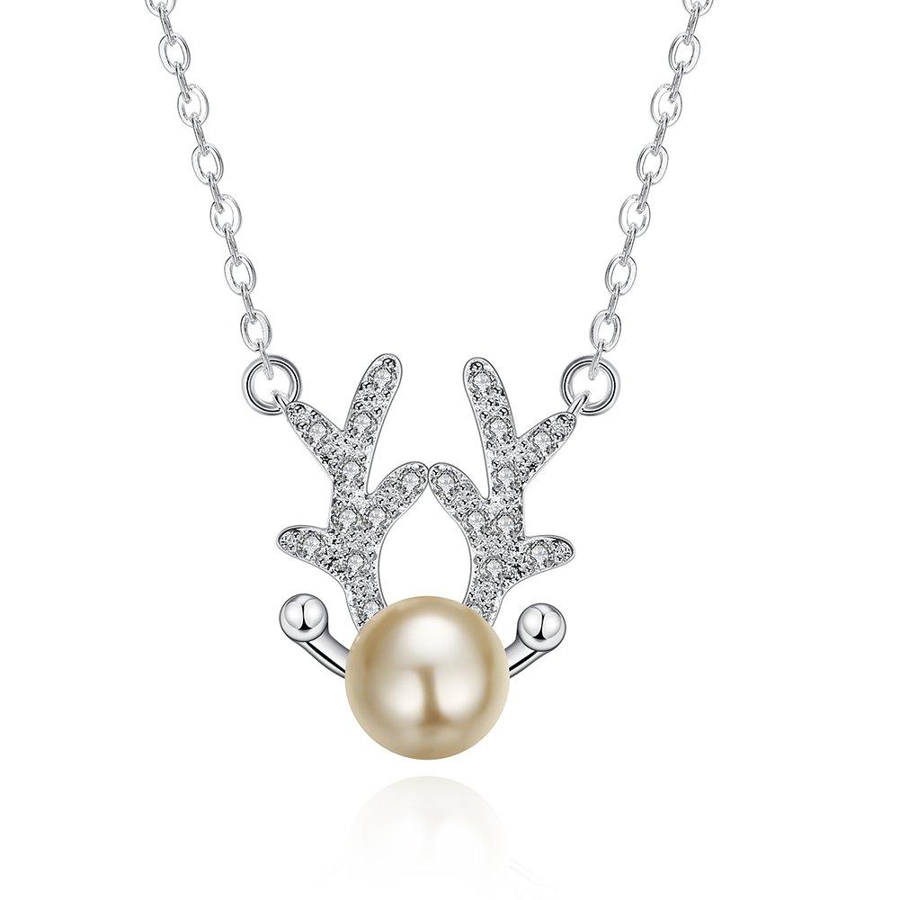 Aeneas Jewelry for Women Girls Silver Plated Holly Reindeer Stud Earrings for Women Girls Cute Pearl Earrings