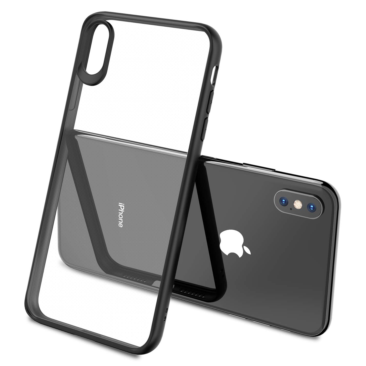 Shock Absorption Cover for iPhone Xs Max with TOZO for iPhone Xs Max Case 6.5 Inch Hybrid Soft Grip Matte Finish Clear Back Panel Ultra-Thin 2018 Slim Thin Fit Black Edge