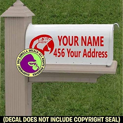 MACAW Parrot Bird MAILBOX Set - CUSTOM ADDRESS - Vinyl Decal Sticker (Quality Sporting Goods)