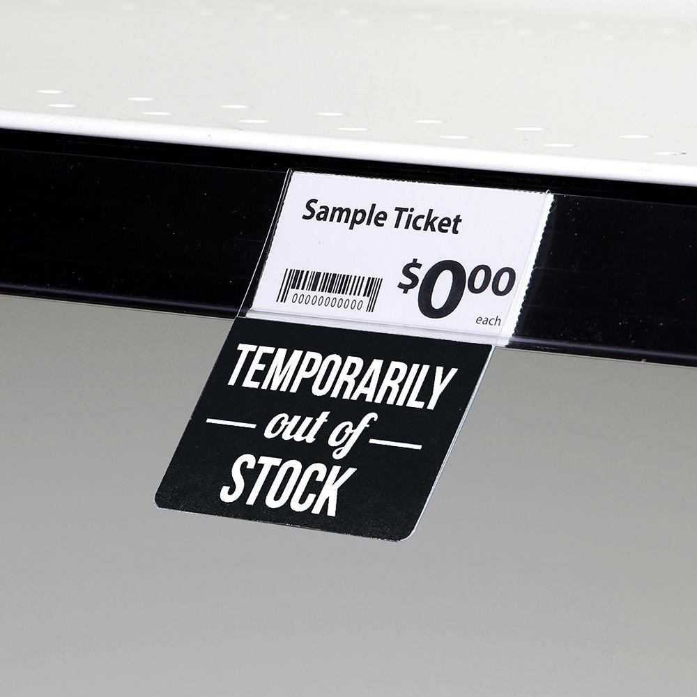 Cartel de plástico negro con texto en inglés