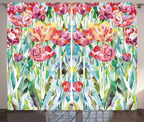 Ambesonne Watercolor Flower Decor Curtains 2 Panel Set, Original Painting of Summer Spring Flowers in Faded Colors Floral Seasonal Theme, Living Room Bedroom Decor, 108 W X 90 L Inches, Multi
