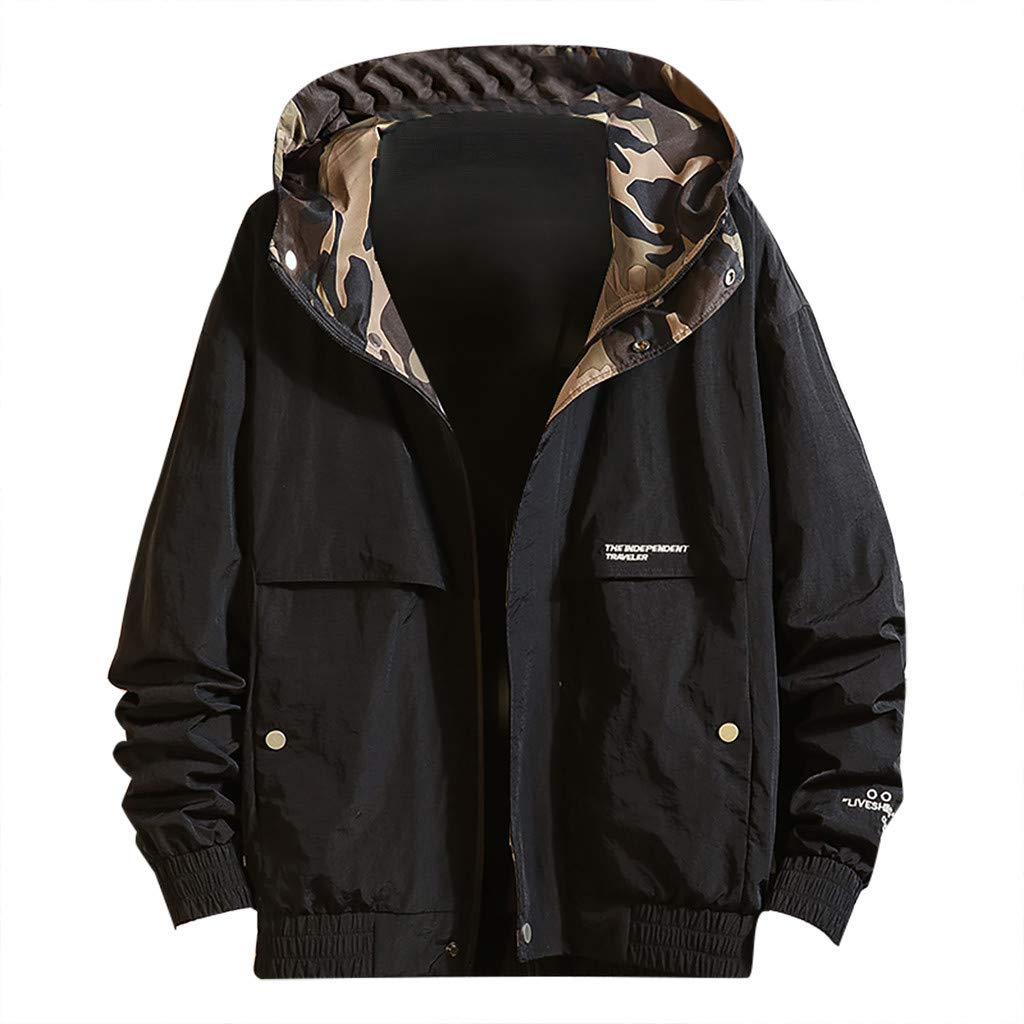 SNOWSONG Men's Casual Contrast Camouflage Utility Jacket Hooded Coat Lightweight Outwear by SNOWSONG