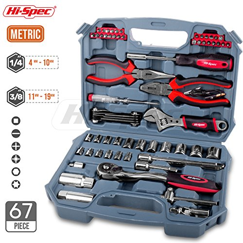 Hi-Spec 67 Piece Metric Auto Mechanics Tool Kit including Professional 3/8