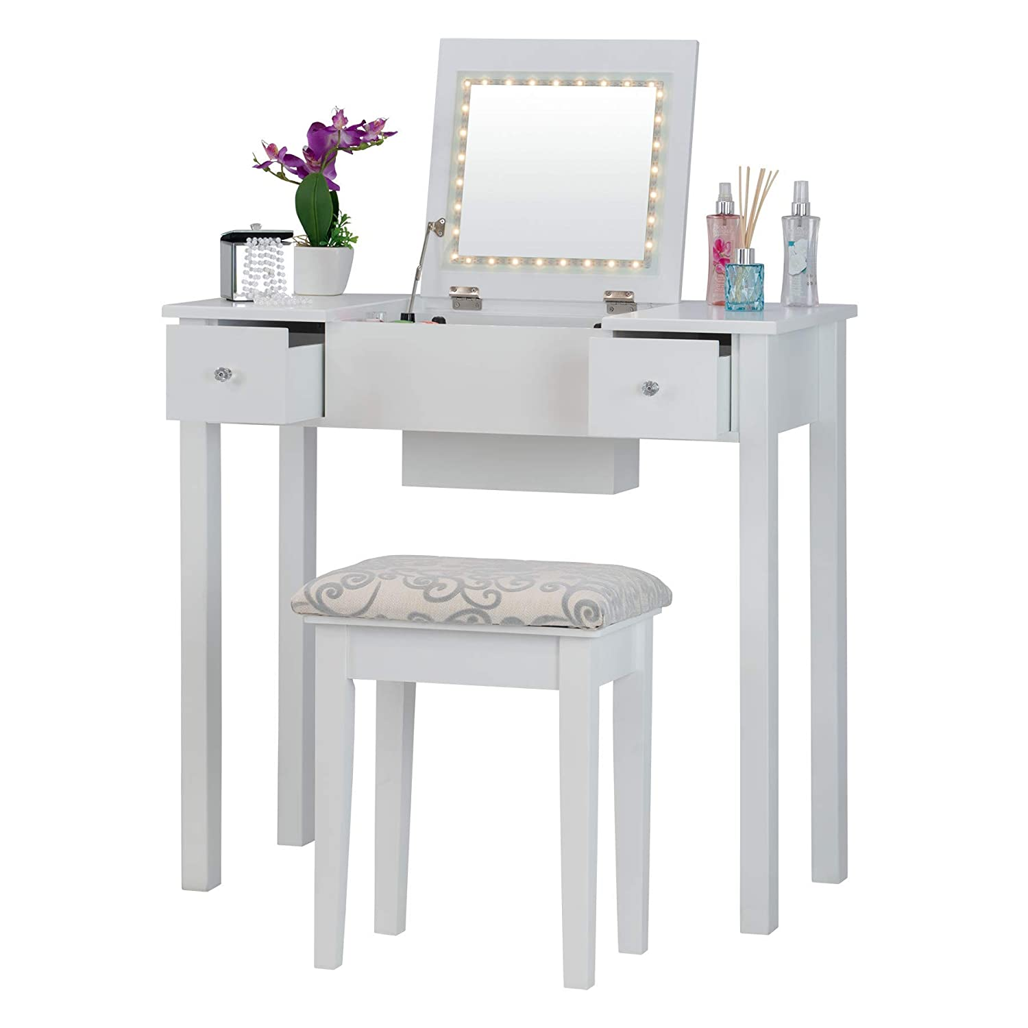White Fineboard FB-VT23-W Dressing Mirror LED Lights and Stool Makeup Vanity Table, White
