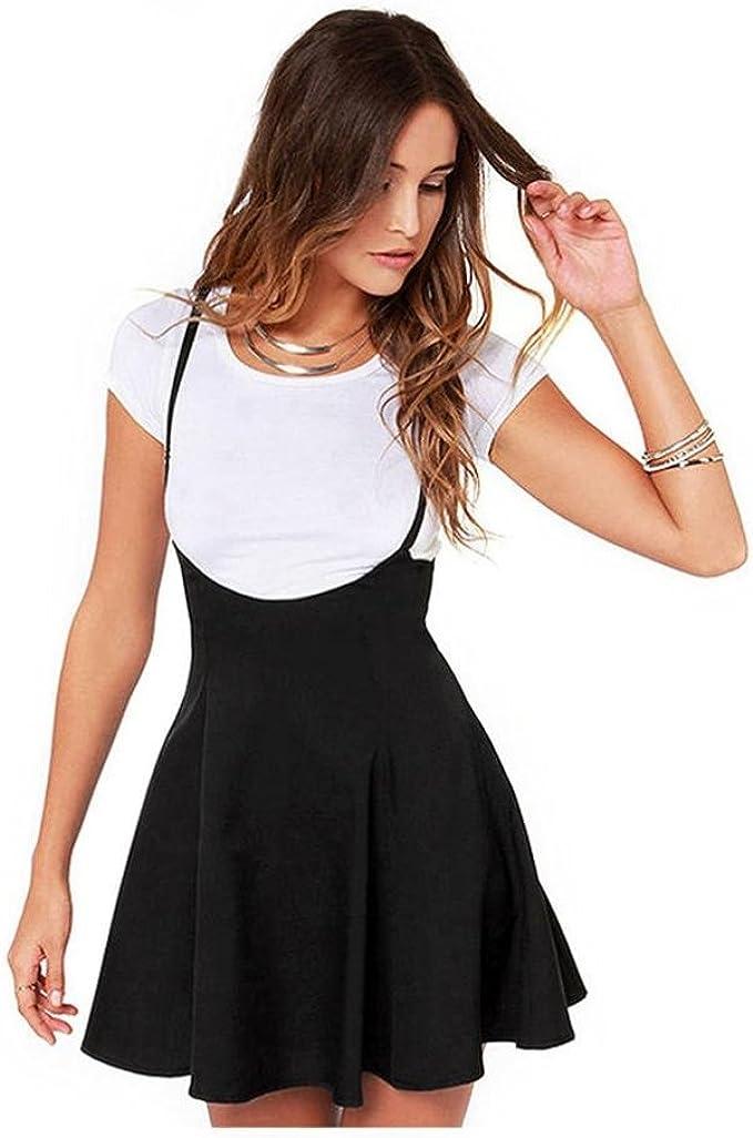 Ninasill Women Dress ღ ღ Fashion Black Skirt With Shoulder Straps Pleated Dress T Shirt Skirt Blouse Tops At Amazon Women S Clothing Store