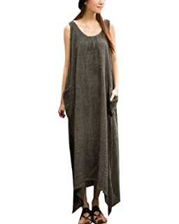 ZANZEA Womens Loose Sleeveless Pockets Irregural Hem A-line Long Maxi Dress