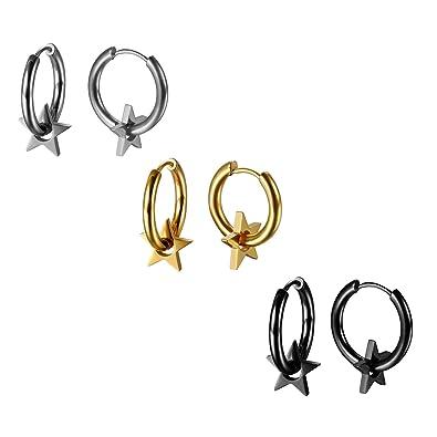JewelryWe Pendientes de Aros 14mm Estrellas Pendientes de ...