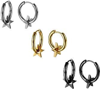 JewelryWe Pendientes de Aros 14mm Estrellas Pendientes de Hombre ...