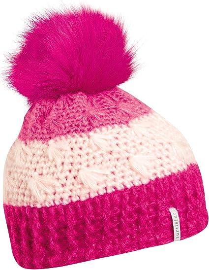 Turtle Fur Kids Girls Merino Wool Knit Fleece Lined Faux Fur Pom Beanie