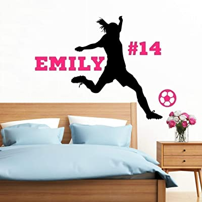 Personalized Girls Soccer Wall Decal, Girls Futbol Gifts, Girls Soccer Decor, 30 Colors & Several Sizes: Handmade