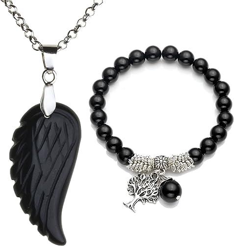 Natural Chakra Healing Point Gemstone Angle Wing Charms Pendant Jewelry