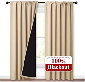 NICETOWN Thermal Insulated 100% Blackout Curtains, Rod Pocket Noise Reducing Drapes with Black Lining, Full Light Blocking Drapery Panels for Patio (Biscotti Beige, 1 Pair, 52-inch x 95 inches)