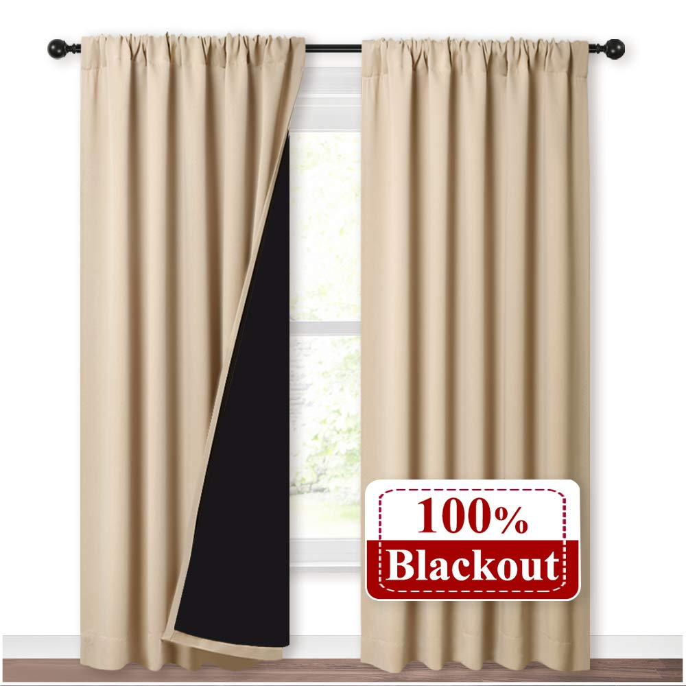NICETOWN Thermal Insulated 100% Blackout Curtains, Rod Pocket Noise Reducing Drapes with Black Lining, Full Light Blocking Drapery Panels for Patio (Biscotti Beige, 1 Pair, 52-inch x 95 inches) by NICETOWN