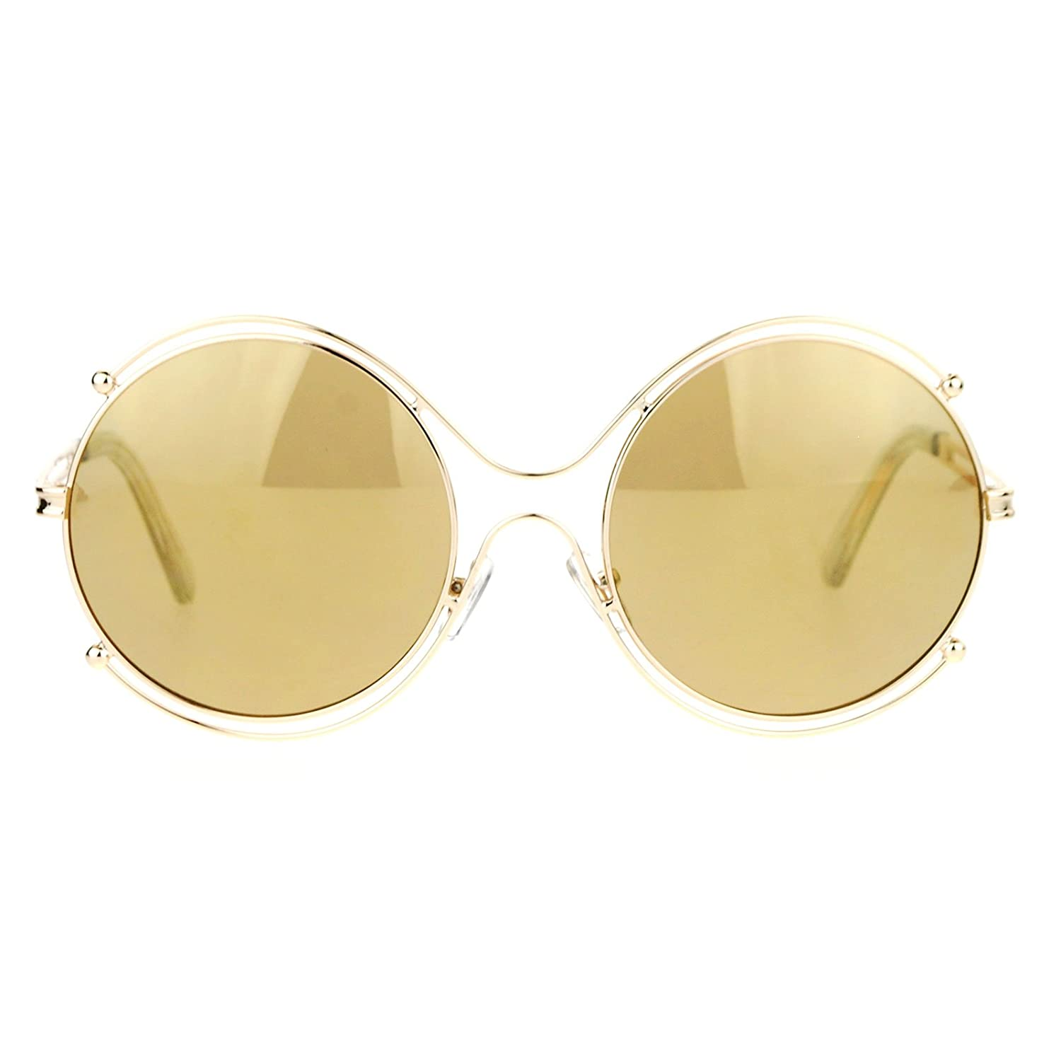 Womens Futuristic Sunglasses Double Metal Rim Round Circle Frame UV 400 Gold