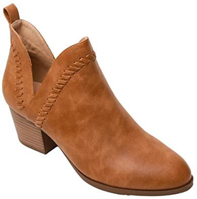 83b4d7a6f5a AMS Button-4 Women V Cut Low Block Heel Pointed Toe Ankle Boots Camel 8.5