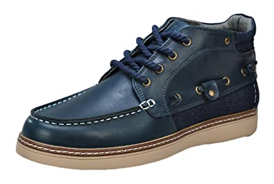 Amazon.com | Serene Mens Leather Lace Up High Top Boat Shoes ...