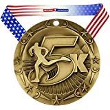 Decade Awards Gold 5K World Class Medal - 1st Place - 5 Kilometer Marathon - Comes with Exclusive Stars & Stripes American Flag V Neck Ribbon - 3 inch wide - Made of Metal - Race (GOLD)