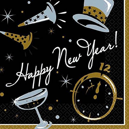 Elegant New Year Party Black Tie Affair Beverage Napkins Tableware, Black, Paper , 5