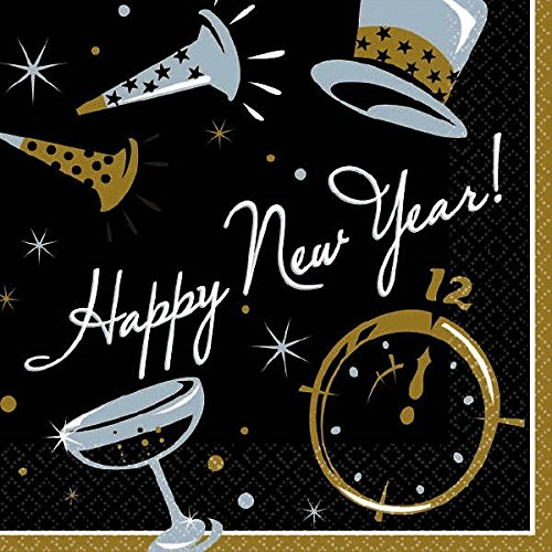New Year Beverage Napkins (Elegant New Year Party Black Tie Affair Beverage Napkins Tableware, Black, Paper , 5