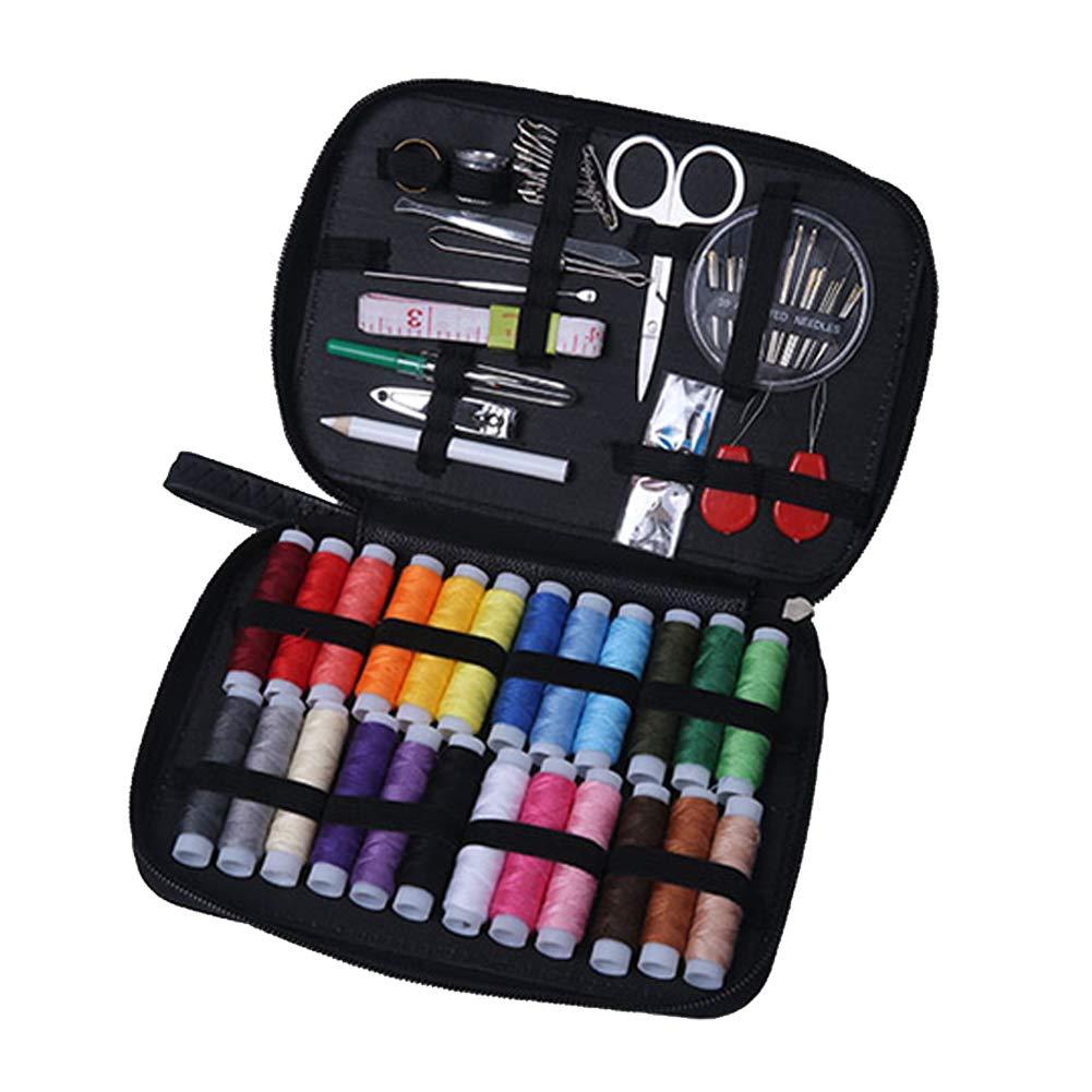 uso de emergencia DIY OneMoreT Kit de costura viajes Rose Red agujas de rosca tijeras bot/ón manualidades 90 paquetes accesorios de aguja caja de cuero bolsa para el hogar
