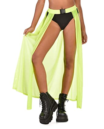 19b6806245064 iHeartRaves Neon Yellow Cyber Cinderella Open-Front Maxi Skirt (X-Small)