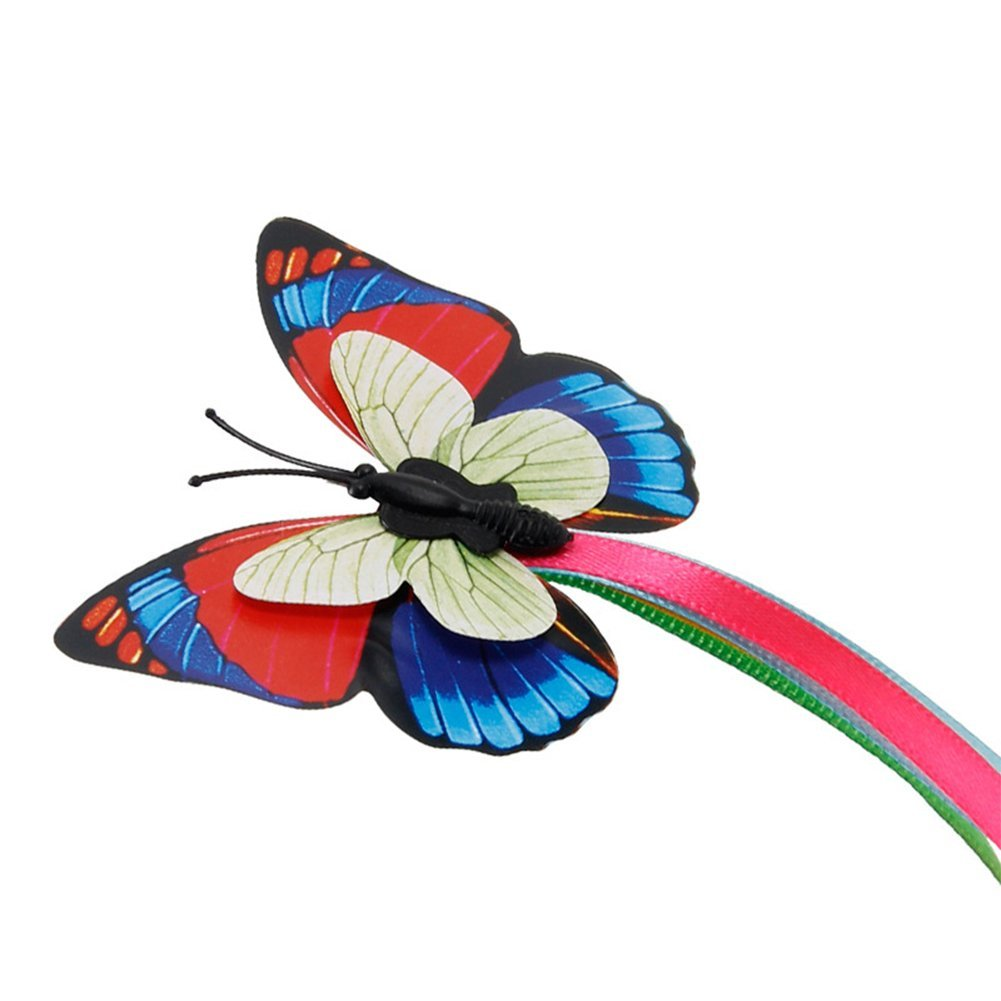 Funny Pet Cat Interactive Toys-Catching 18.5208cm,3X Replacement Butterfly GEZICHTA Electric Rotating Butterfly Cat Toys with Two Replacement Flashing Butterflies Playing- Cat Teaser Toy