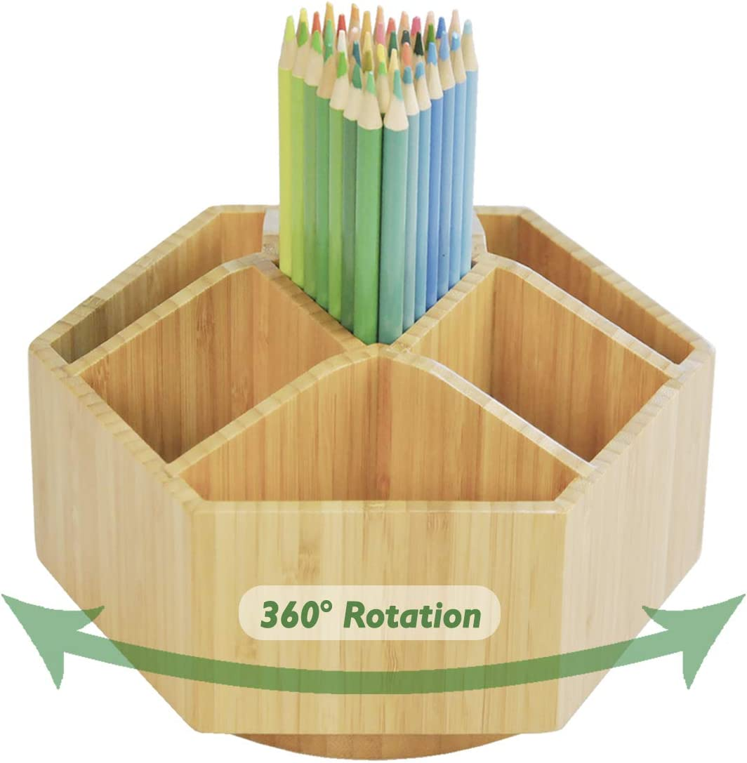Bamboo Rotating Art Supply Organizer, 7 Sections, Hold 350+ Pencils, School Supplies Organizer for Pen, Colored Pencil, Art Brushes, Desktop Storage Box in Classroom & Art Studio