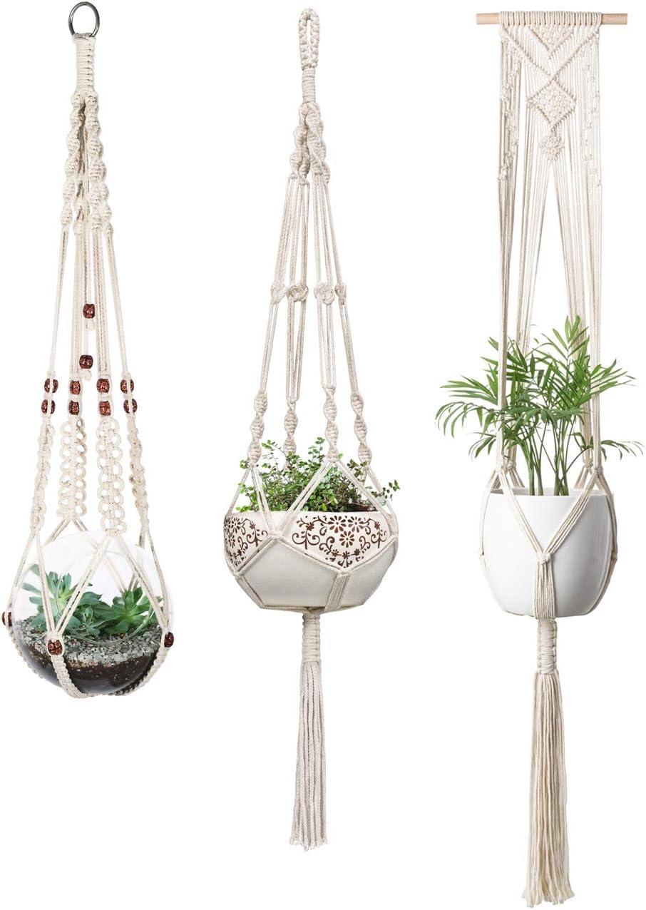 Mkono Macrame Plant Hangers Indoor Wall Hanging Planter Basket Flower Pot Holder Boho Home Decor, Set of 3