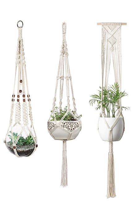 Mkono Macrame Plant Hangers Indoor Wall Hanging Planter Basket Flower Pot Holder Boho Home Decor Set Of 3