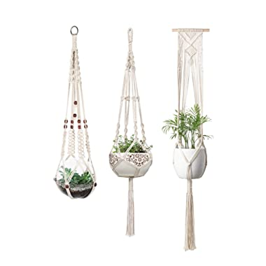Mkono Macrame Plant Hangers Indoor Wall Hanging Planter Basket Flower Pot Holder Boho Home Decor, Set of 3