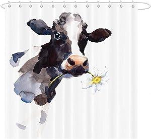MAEZAP Cow Farmhouse Fall Shower Curtain Animal Painting Art Bathroom Decor Waterproof Polyester with Hooks 69x70 Inchs