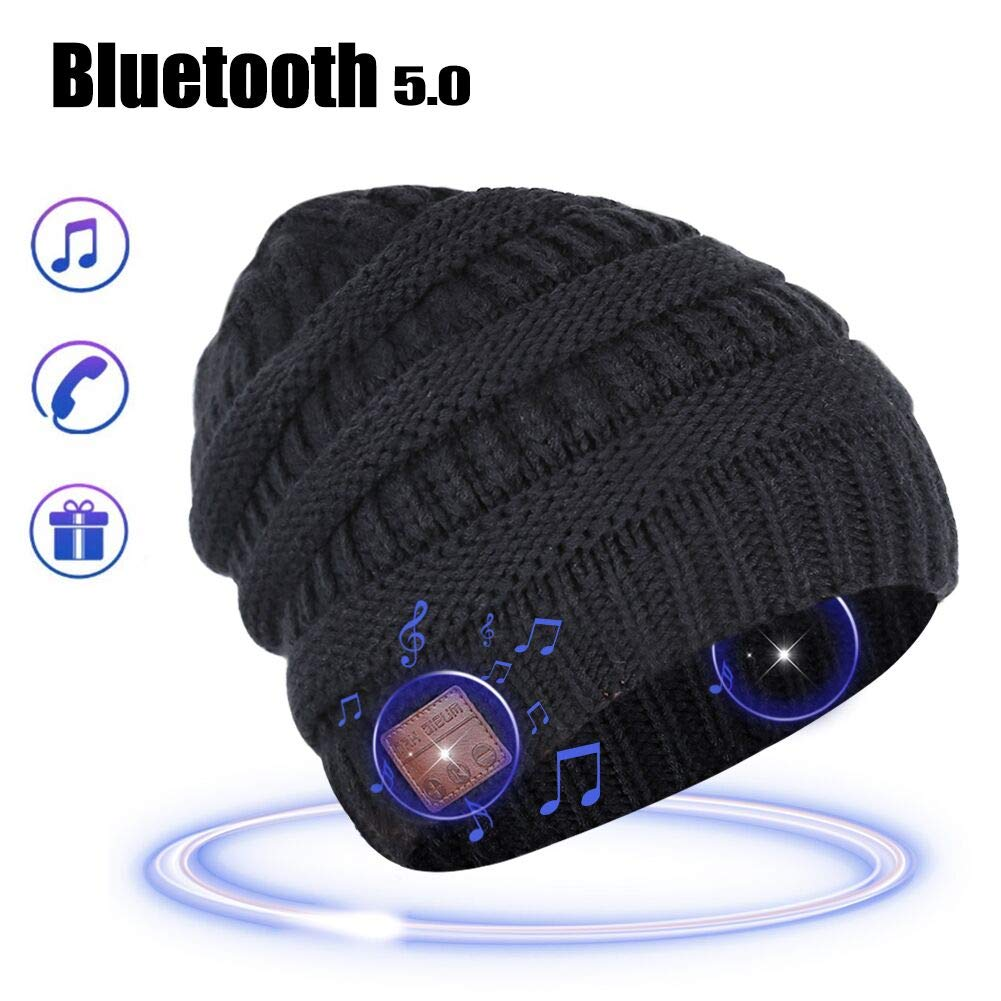 MORETEK Bluetooth Beanie Music Hat Gifts for Men Women (Black)